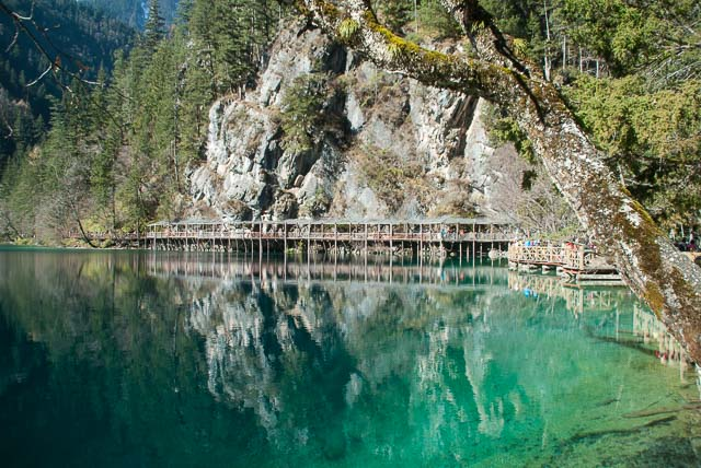 stone mountainside with trees and wooden walkway, reflected in blue lake at Jiuzhaigou