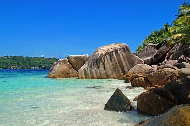 A beach in the Seychelles, one of the world's most romantic destinations.
