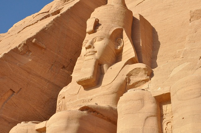 Abu Simbel on the banks of Lake Nasser in Upper Egypt Egyptian Nile cruise
