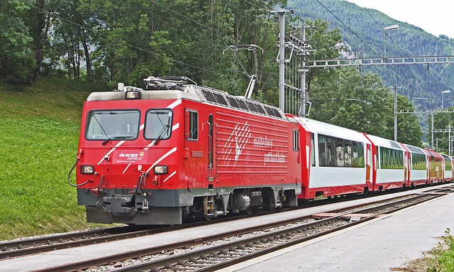 Swiss train on time climbing into the mountains