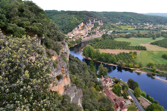 Périgord Noir View from limestone cliffs overlook the River Dordogne in the Perigord Noir region