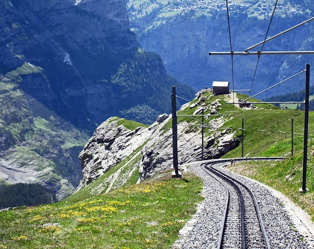 Tracks for your Swiss train jouney climbing up into the Alps to the Top of the World