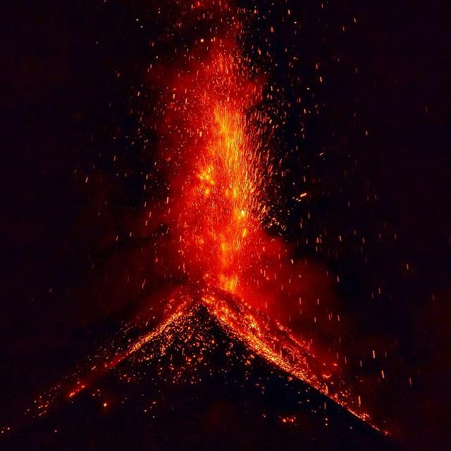Acantenango volcano erupting in Central America