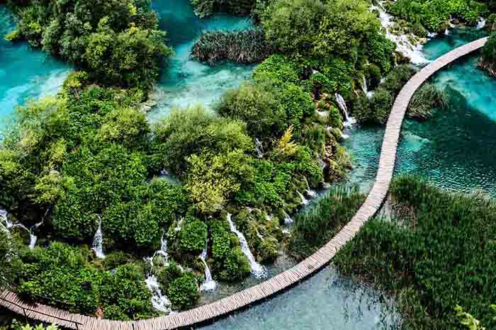 View over Plitvice lakes