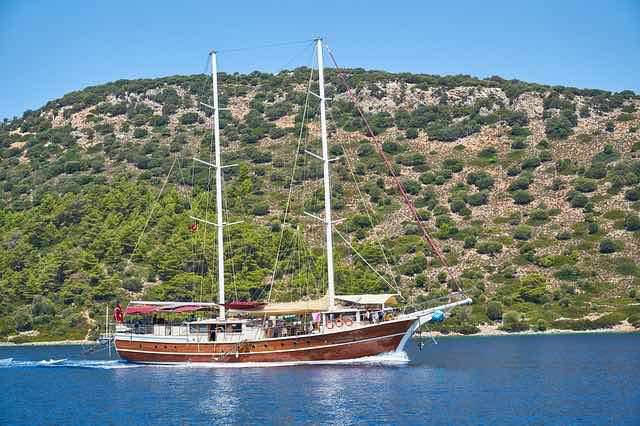 Traditional Turkish wooden boat called Gulet